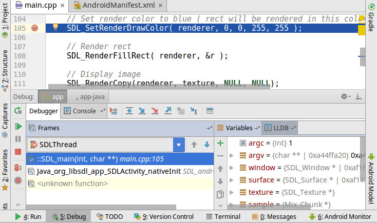 How to debug C/C++ code in Android Studio