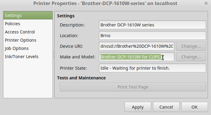 How to install Brother DCP-1610W on Linux Mint