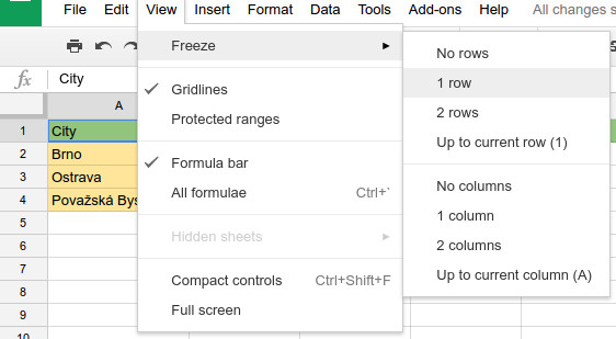 How To Freeze St Row And St Column In Google Docs Spreadsheet - Google docs columns