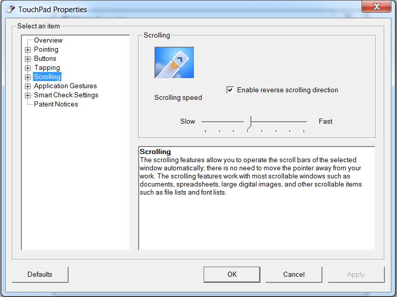 How to configure Two-Finger Scrolling on Lenovo notebook to behave